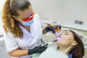 Woman relaxed in dental chair at sedation dentist in Lewisville.